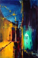 "Back Alley, 48""x32"", Oil on Wood Panel (2005)"
