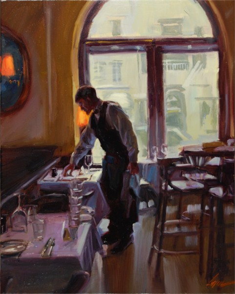 "Serving Lunch, 20""x16"", Oil on Canvas (2008)"