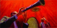 "Jazz, 12""x24"", Acrylic on Masonite (2005)"