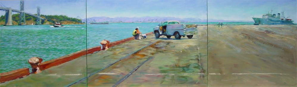 "Lunch by The Bay, 30""x100"", Oil on Canvas (2003)"