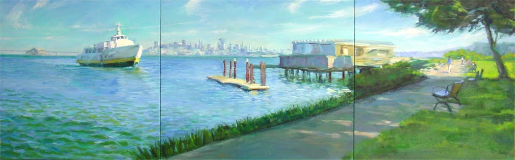 "Sausalito Afternoon, 20""x64"", Oil on Canvas (2004)"