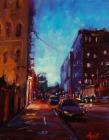 "SF Night, 14""x11"", Oil on Canvas Panel (2011)"