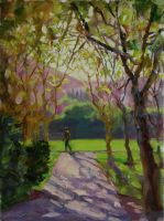 "Morning Run in Osage Park, 12""x9"", Oil on Canvas Panel (2011)"