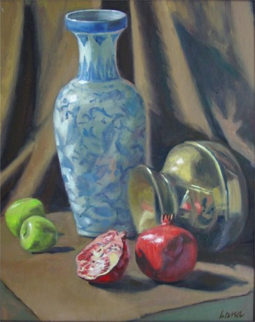 "Still Life with Pomegranade, 20""x16"", Oil on Canvas Panel (2003)"