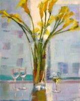 "Glass of Chardonnay, 20""x16"", Oil on Canvas (2005)"