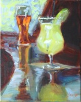 "Margarita and Beer, 10""x8"", Oil on Canvas (2005)"