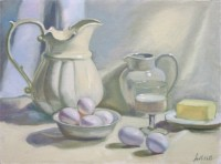 "Milk, Eggs and Butter, 12""x16"", Oil on Canvas (2003)"